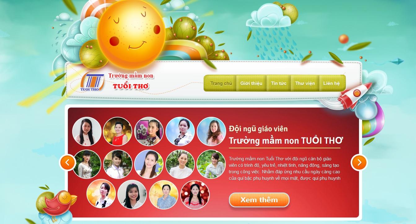 Trường mầm non Tuổi Thơ thay đổi giao diện website